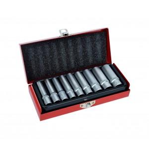 Set chiavi a bussola chrome vanadium 9 pezzi in comodo astuccio 5-13 mm