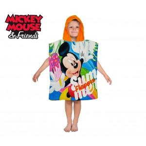 WD16950 Accappatoio poncho in cotone Mickey Mouse con cappuccio 120 x 60 cm
