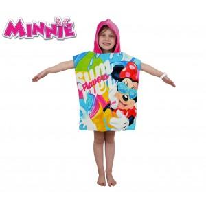WD16951 Accappatoio poncho in cotone Minnie Mouse con cappuccio 120 x 60 cm