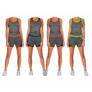 Tuta donna due pezzi pantaloncino e canotta modello Flexy abbigliamento sportivo