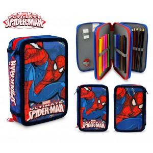 SP16109 Astuccio portapastelli Spiderman 3 cerniere 43 pz scuola colori