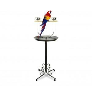 390060 Trespolo per pappagalli con posatoio e vassoio di raccolta e scodelle