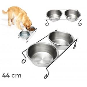 181295 Doppia ciotola per cani in acciaio con supporto rialzato 44 x 11 cm