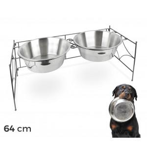 133587 Doppia ciotola per cani in acciaio con supporto rialzato 64 x 26 cm