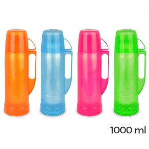 14018 Thermos per bevande welkhome rivestito in plastica colorata 1000 ml