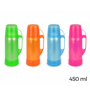2020 Thermos per bevande welkhome rivestito in plastica colorata 450 ml