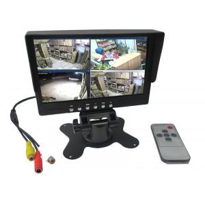 """Monitor led 7"""" pollici con telecomando doppio ingresso per videosorveglianza o retromarcia"""