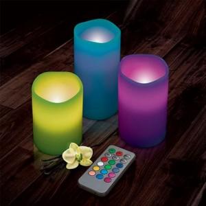 Set 3 candele led decorative senza fiamma con telecomando mutlicolore profumate