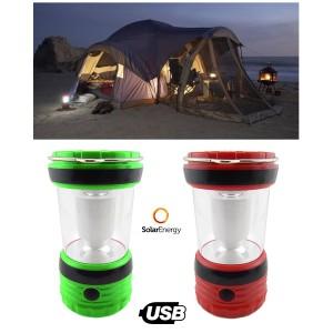 Lanterna led ad energia solare lampada campeggio ricaricabile con usb e vano batterie
