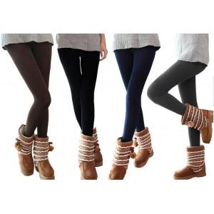 Set 5 leggings donna effetto termico interno felpato elasticizzato collant winter fuseaux