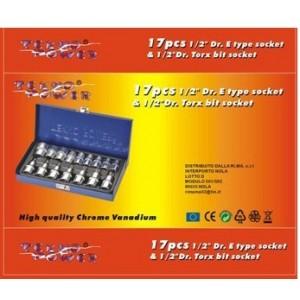 16 attrezzi in valigetta bussole torx 1/2 cromo vanadio