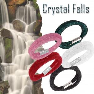 Bracciale o girocollo Crystal falls effetto 3D brillante chiusura magnetica finiture argentate