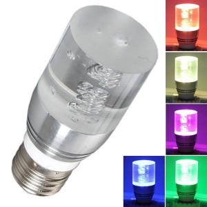Lampadina crystal led rgb multicolore ad effetto 3W attacco E27 effetto cromoterapia con telecomando