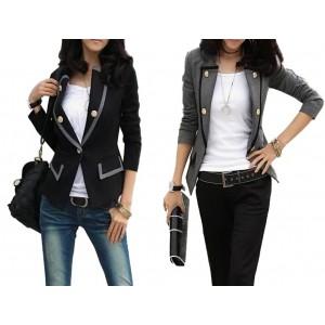 Blazer donna con bordi a contrasto giacca casual con bottoni e collo coreano