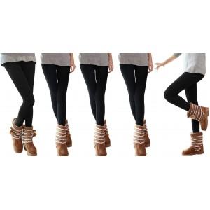Pack da 5 o 10 leggings NERI donna effetto termico interno felpato elasticizzato collant winter fuseaux