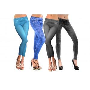 Leggings effetto denim jeggins donna con stampa jeans vari colori