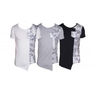 Maglia uomo mezza manica t-shirt asimmetrica con stampa fiori be cool