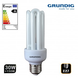 Lampadina Grundig 30 watt classe A con attacco E27 Luce bianca fredda 6500K