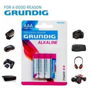 Mini stilo Grundig alcaline formato AAA LR03 1.5V 950 mAh confezione da 4 batterie