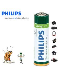 Pack da 16 stilo Philips Long Life formato AA R6 1.5V Zinc Carbon confezione risparmio da 16 pile AA