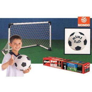 Set di 2 porte da calcio per bambini con mini palla inclusa mini goal post linea mondo