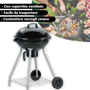 Barbecue charcoal 81x54x54 cm BBQ COLLECTION con coperchio con fori areazione e ruote