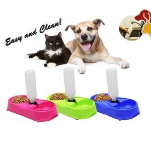 Dispenser dosatore d'acqua per animali doppia ciotola cibo e acqua