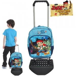 Zaino scuola e tempo libero con carrellino e ruote Jake e i pirati trolley  Disney Junior 30 x 16 x 40 cm