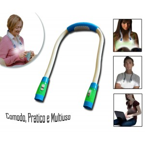 Doppia luce led flessibile multiuso da collo per lettura e lavori a mani libere
