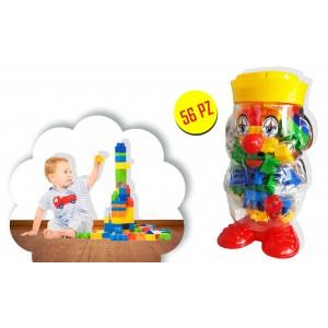 Set di 56 pezzi di mattoncini colorati in contenitore a forma di clown con maniglia