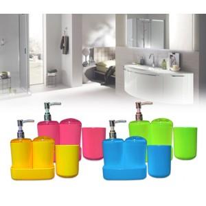 Set 4 accessori bagno coordinato dosatore sapone liquidi porta saponetta spazzolino bicchiere 710824