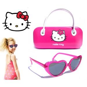 Occhiali per bambine a forma di cuore con custodia  Hello Kitty 100% protezione UV