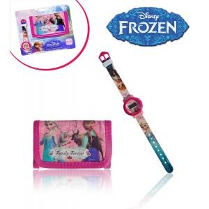 Orologio digitale piu' portafoglio principesse Frozen idea regalo personaggi Disney Elsa e Anna