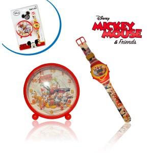 Orologio digitale da polso piu' orologio da comodino con sveglia integrata Mickey Mouse idea regalo Disney