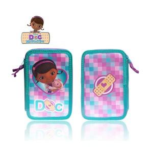 Astuccio portapastelli 3 cerniere 38 pz completo scuola colori matite cancelleria Disney Dottoressa Peluche Dottie