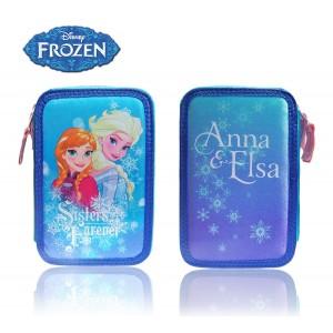Astuccio portapastelli 3 cerniere 38 pz completo scuola colori matite cancelleria Disney Frozen prinicipesse Elsa ed Anna