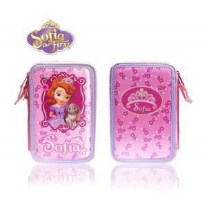 Astuccio portapastelli 3 cerniere 38 pz completo scuola colori matite cancelleria Disney principessa Sofia