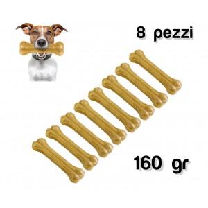 Delizioso snack per cani di piccola e media taglia a forma di osso in 100% pelle di maiale pressata antistress