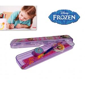 Kit di cancelleria scuola Frozen 5 pezzi in custodia rigida del fantastico regno di ghiaccio