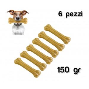 Delizioso snack 6 pz per cani di piccola e media taglia a forma di osso in 100% pelle di maiale pressata antistress
