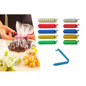 Set di 10 clip colorate salva freschezza universali per sigillare buste e sacchetti alimenti 750228