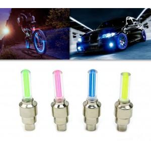 Coppia luci led per auto bici e moto decorazione ruote visibilita' notturna