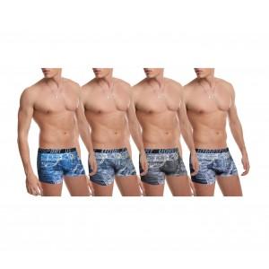 Pack di 4 - 8 o 12 boxer in denim style da uomo in cotone elasticizzato con dettagli stampati