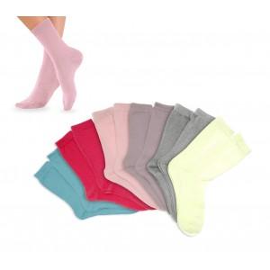 Pack di 3 - 6 - 12 calzini corti in cotone colorati per bambine in diverse taglie