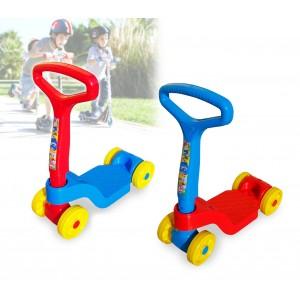 Monopattino a spinta a 4 ruote per bambini da 2 anni in su 48 x 55 cm portata max 20 kg con manico reclinabile