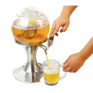 Dispenser a forma di sfera per bevande gassate alla spina con vano ghiaccio indipendente