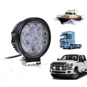 Faro led tondo per auto camion e barche off road impermeabile e resistente alla polvere 27 watt luce bianca