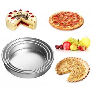 Set 3 teglie da forno in acciaio inox in tre diverse misure da 28 a 36 cm per dolce e salato