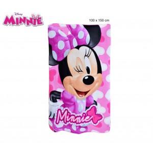 Coperta in pile con stampa Minnie Fucsia 100 x 150 cm caldo plaid con personaggi Disney 0925