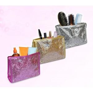 Pochette modello Shine glitterata per make up e altro interamente impermeabile con chiusura a zip